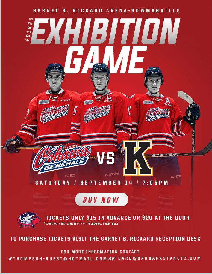 Oshawa Generals Exhibition Game Poster